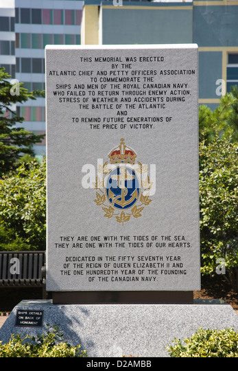 A memorial stone to those lost in action with the Royal Canadian Navy in Halifax, Nova Scotia - Stock Image