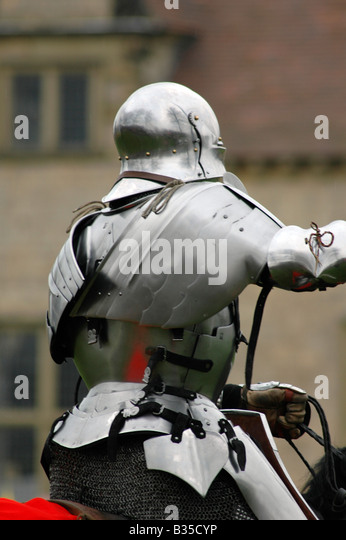 Mounted knight in armour rear view - Stock Image