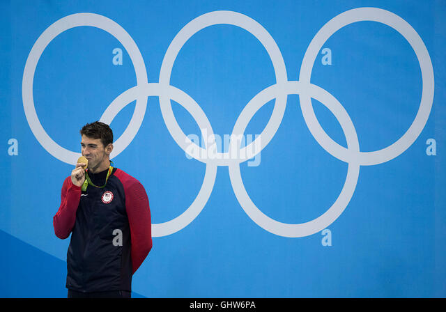 Rio de Janeiro, RJ, Brazil. 11th Aug, 2016. OLYMPICS SWIMMING: Michael Phelps (USA) reacts after his 22nd Olympic - Stock-Bilder