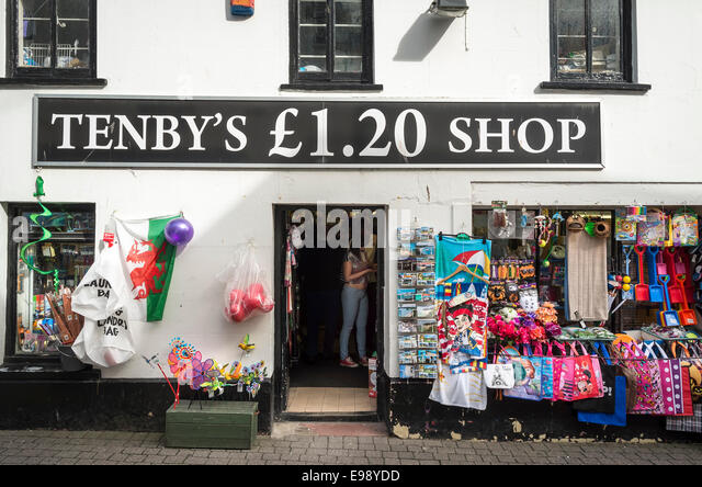 Tenby's £1.20 shop in Tenby South Wales UK - Stock Image