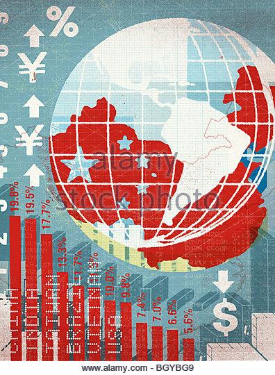 Globe and international, financial chart - Stock-Bilder
