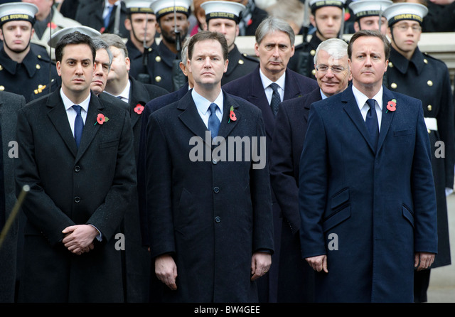 Prime Minister David Cameron, Deputy Prime Minister Nick Clegg, Ed Miliband and Tony Blair attend the Remembrance - Stock Image