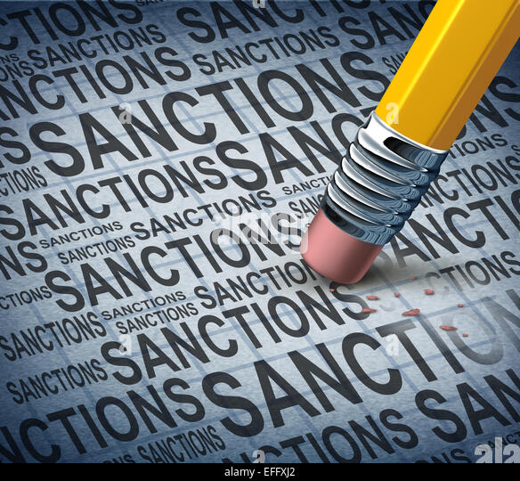 Removing sanctions lifting economic pressure as a global economy symbol for solutions to trade disputes as a pencil - Stock Image