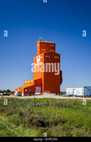 An inland grain handling terminal at Stoughton, Saskatchewan, Canada. - Stock Image