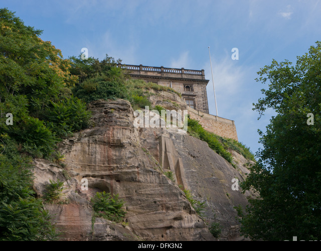 The grounds of Nottingham Castle in the United Kingdom. - Stock Image