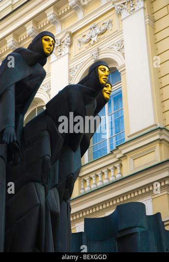 Artwork outside National Drama Theatre in central Vilnius Lithuania Europe - Stock Image