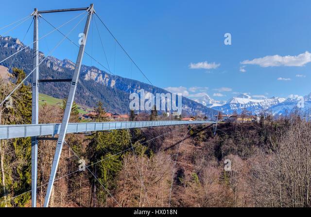 Panorama Bridge, Sigriswil, Lake Thun, Berne, Switzerland, Europe - Stock-Bilder