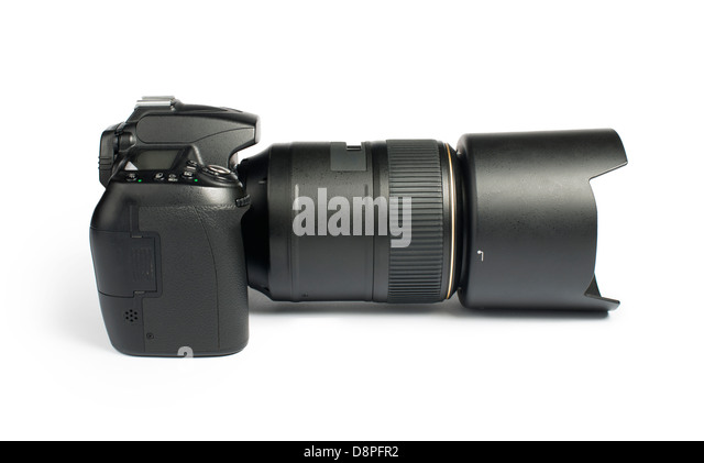 DSLR camera white isolated studio shot. - Stock Image