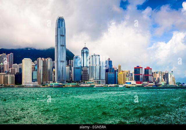 Hong Kong China city skyline. - Stock Image