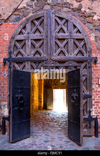 geography / travel, Lithuania, Trakai, Trakai Castle, gate,Lietuva, Baltics, Baltic area, Baltic states, Baltic - Stock-Bilder