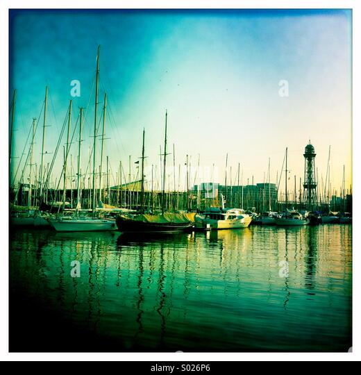 Boats in Barcelona harbour - Stock Image