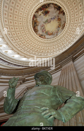Washington DC United States US Capitol history government Rotunda dome canopy President Dwight D. Eisenhower statue - Stock Image