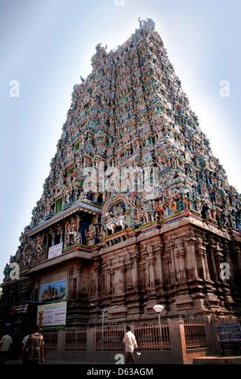 Madurai Meenakshi Amman temple - Stock Image