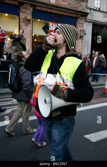 Demonstrator at the Campaign Against Climate Change march in London. - Stock Image