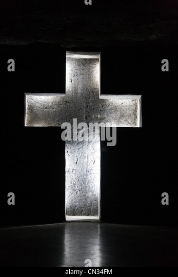Cross, Salt Cathedral of Zipaquira, Columbia - Stock Image