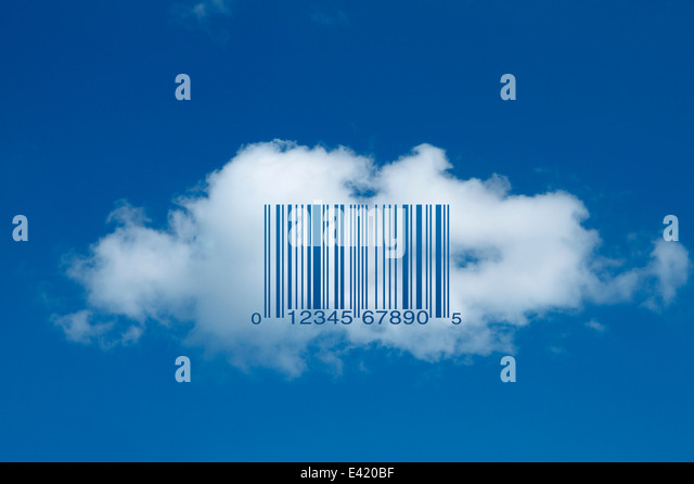 Barcode on cloud (universal product code UPC-A) - Stock Image
