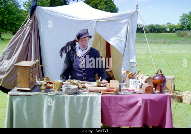 Man Dressed in Medieval Costumes Kentwell Suffolk England - Stock Image