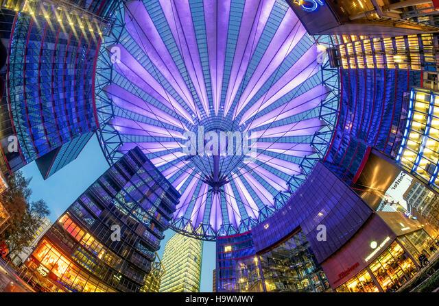 Illuminated dome of Sony Center , Modern architecture, Skyscraper, Berlin, Germany - Stock Image