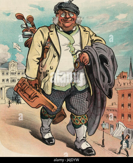 The next morning -  Illustration shows a large man carrying golf clubs and a small piece of luggage, holding goggles - Stock Image