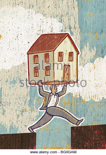 Man Carrying House Across Gap - Stock-Bilder