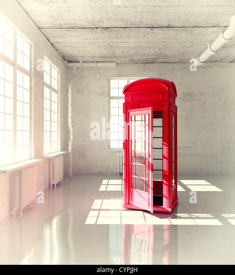 retro call-box in the empty room (3d illustrated concept) - Stock-Bilder