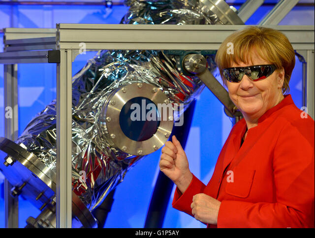 Cologne, Germany. 18th May, 2016. German Chancellor Angela Merkel visits the European Astronaut Centre (EAC) in - Stock Image