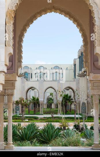Garden at the Hassan II Mosque in Casablanca - Stock Image
