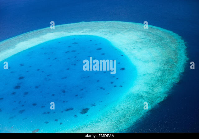 Aerial view of Maldives atoll - Stock Image