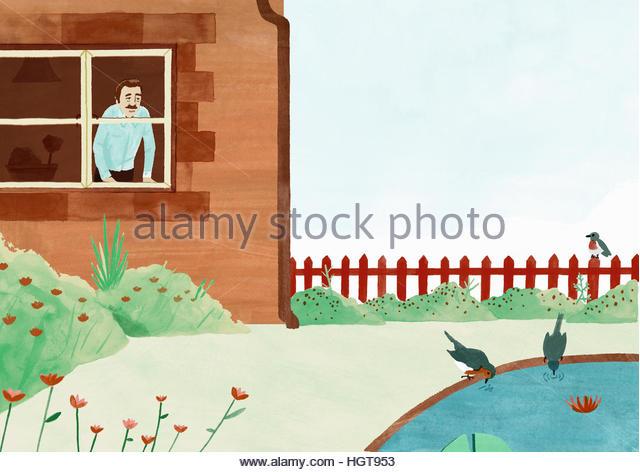Man looking through window into garden watching birds drinking from pond - Stock-Bilder