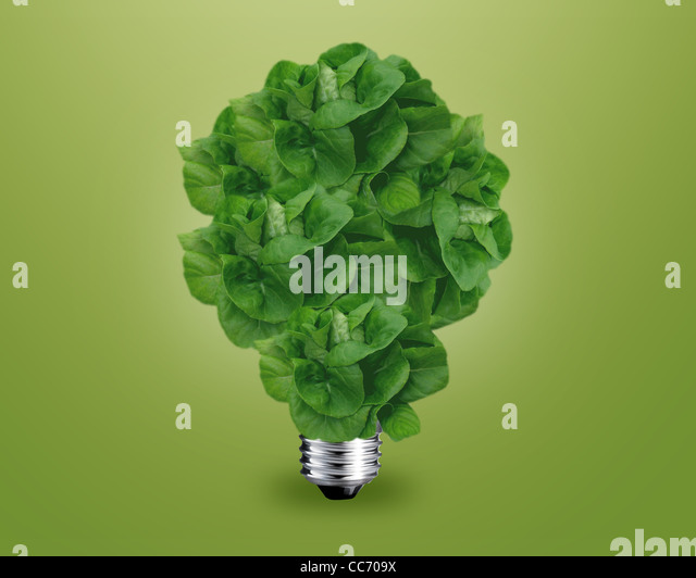 ecology concept, Green light bulb as a tree. - Stock Image