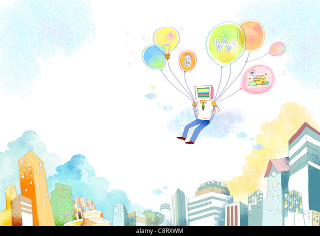Illustration of man flying with balloons - Stock Image