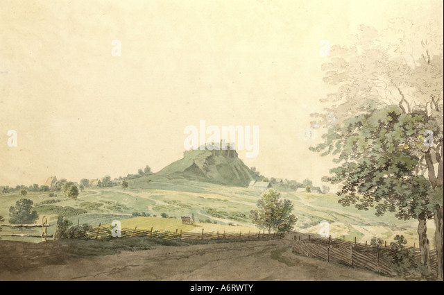 fine arts, romanticism, painting, Parkstein near Weiden in Upper Palatinate, watercolour on pencil drawing by Johann - Stock Image
