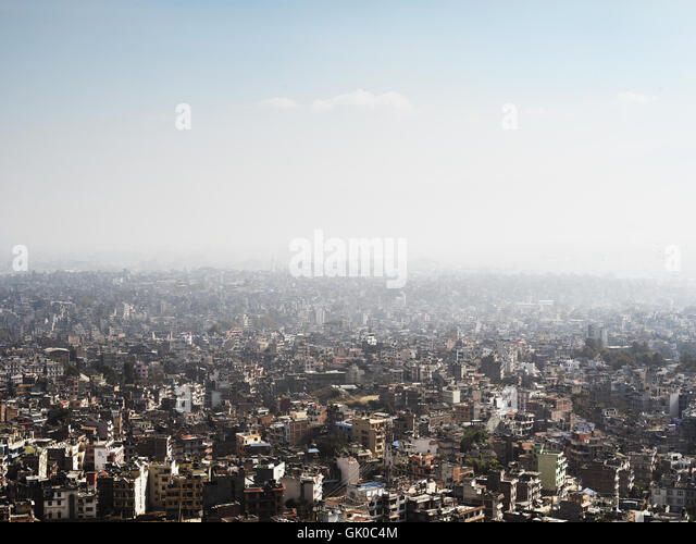 Looking over the urban cityscape of Kathmandu, Nepal - Stock Image