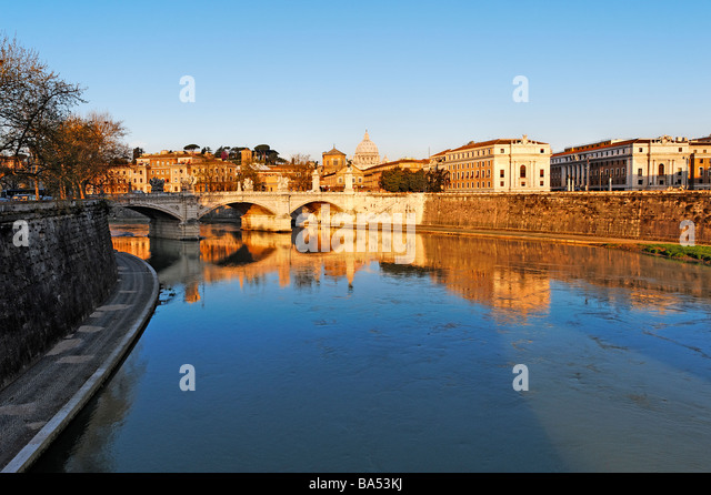 Early morning view of Ponte Vittorio Emanuele  and river Tiber from Ponte Sant' Angelo - Stock Image