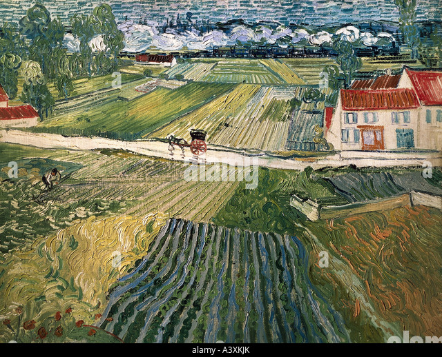 'fine arts, Gogh, Vincent van, (1853 - 1890), painting, 'landscape with horse carriage and train in background', - Stock Image