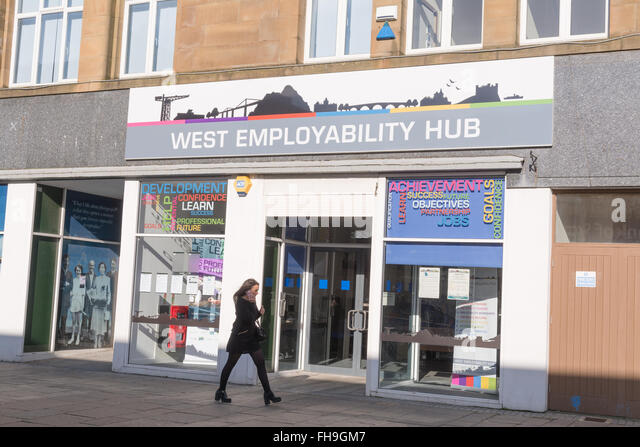 West Employability Hub - a job centre for young people - Dumbarton, West Dunbartonshire, Scotland, UK - Stock Image