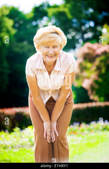 Vitality. Independent Gracious Old Woman Granny having Fun - Stock Image