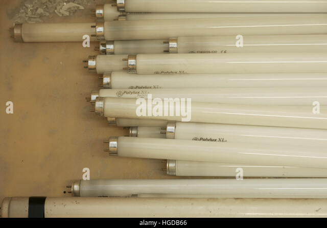 FLUORESCENT for recycling end environmental - Stock Image