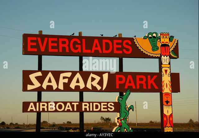 Florida Everglades airboat ride sign tamiami trail - Stock Image