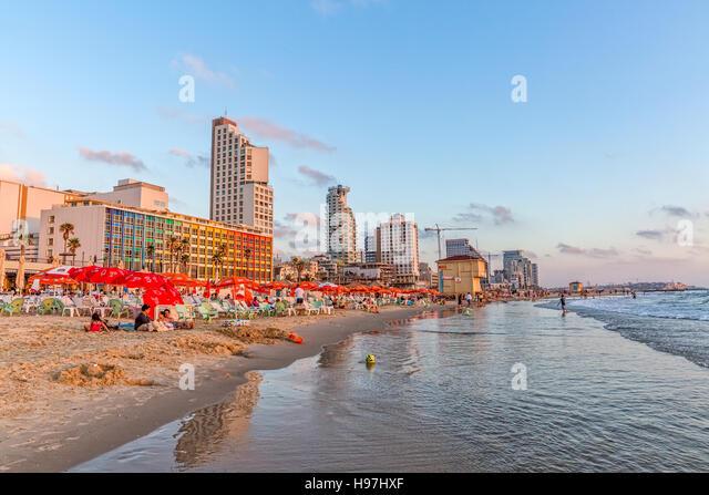 Tel Aviv riviera and hotels - Stock Image