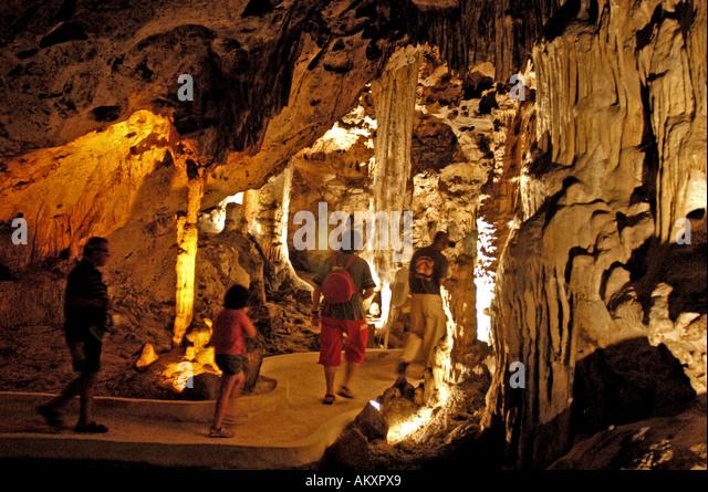 Hato Caves underground cavern Curacao tourist attraction stalactites stalagmites caribbean geology - Stock Image