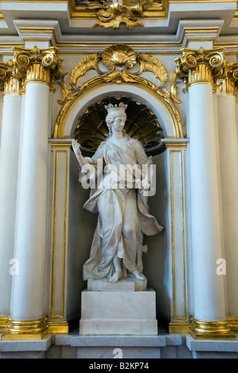Statue on the Jordan Staircase, of the Winter Palace, State Hermitage Museum, St Petersburg, Russia - Stock Image