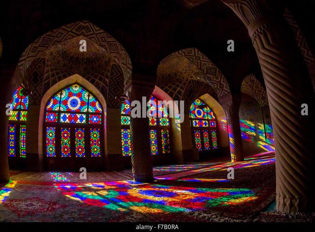 The Prayer Hall Of Nasir Ol Molk Mosque With Its Beautiful Coloured Glass Windows, Fars Province, Shiraz, Iran - Stock Image