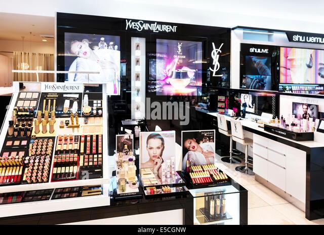 Yves Saint Laurent makeup store display in Tokyo, Japan - Stock Image