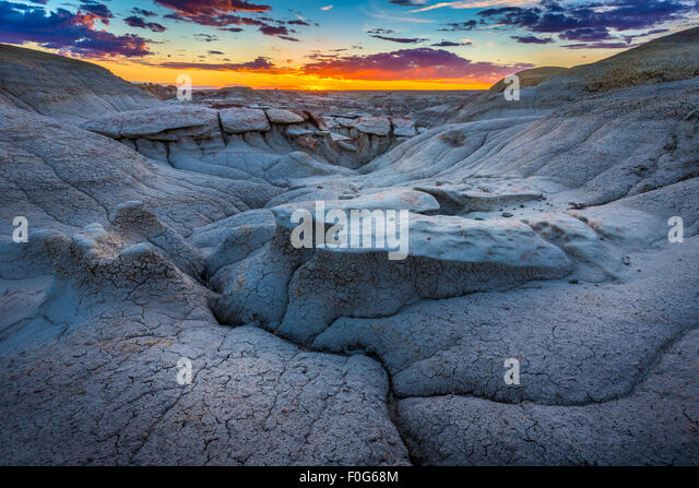 The Bisti/De-Na-Zin Wilderness is a 45,000-acre wilderness area located in San Juan County in the U.S. state of - Stock Image