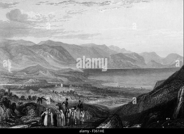 The Dead Sea, Jericho and the Mouth of the Jordan River. Black and White Illustration from Landscapes of the Bible - Stock Image