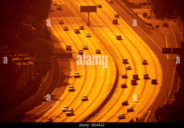 USA, California, Los Angeles, Route 101 and Downtown - Stock-Bilder