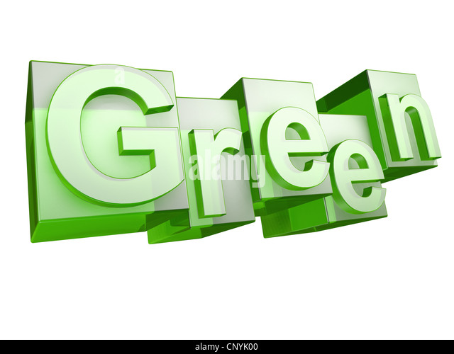 The word green in green glass letters on white background - Stock Image