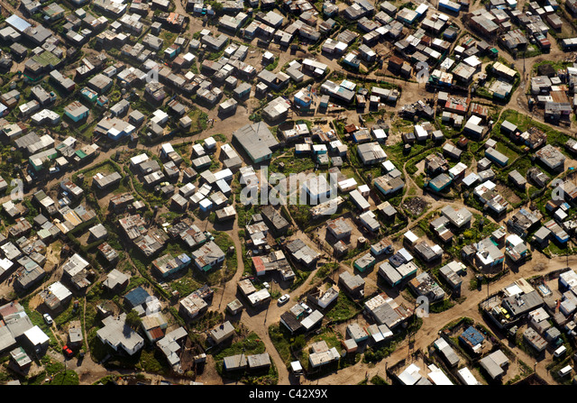 Aerial view of KTC township near Cape Town international airport in South Africa. - Stock-Bilder