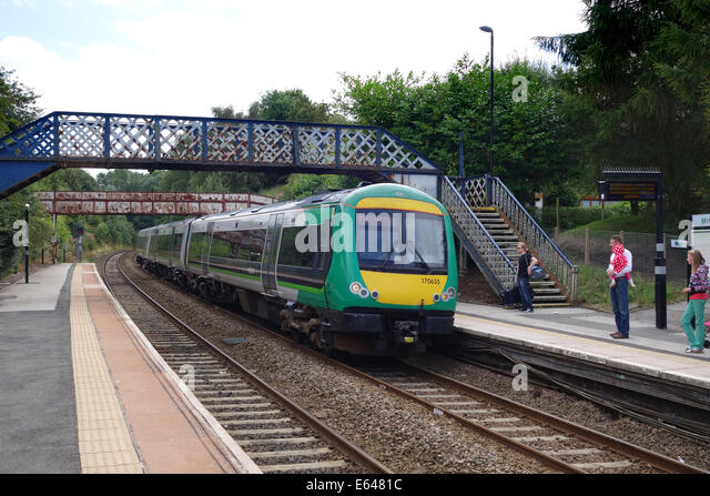 Passenger train trains London Midland at Oakengates Station Uk - Stock Image